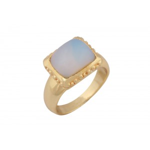 Silver Alloy Gold White Opal Hydro Glass Ring