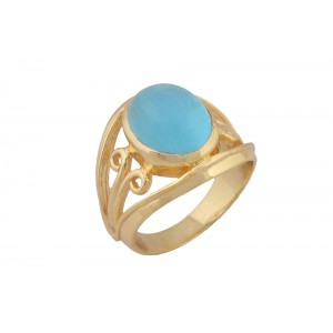 Silver Alloy Gold Plated Oval Blue Hydro Ring