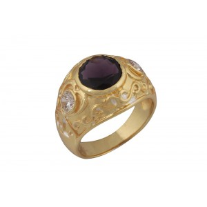 Silver Alloy Gold Plated Amethyst Hydro & Zircon Filigree Ring