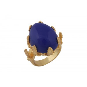 Silver Alloy Gold Plated Lapis Hydro Leaf Ring