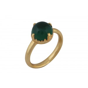 Silver Alloy Gold Plated Round Green Hydro Ring