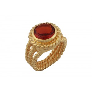 Silver Alloy Gold Plated Red Hydro Multi Bands Ring