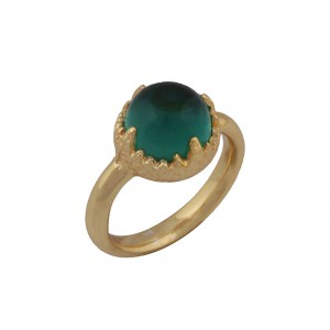 Silver Alloy Gold Plated Green Hydro Ring