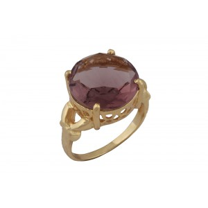 Silver Alloy Gold Plated Amethyst Hydro Glass Ring