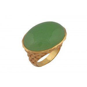 Silver Alloy Gold Plated Oval Peridot Hydro Mesh Finish Ring