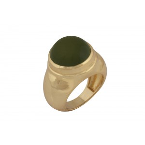Silver Alloy Gold Plated Peridot Hydro Glass Ring