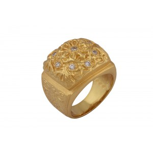 Silver Alloy Gold Plated Zircon Floral Ring