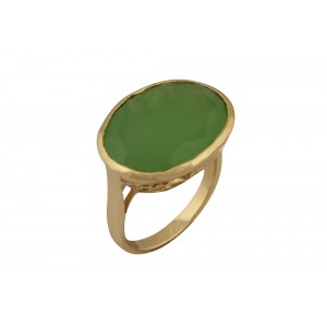 Silver Alloy Gold Plated Oval Peridot Hydro Ring