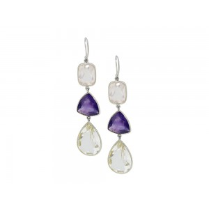 Silver Rose Quartz, Crystal & Amethyst Earring