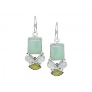 Silver Opal & Multi Gemstone Earring