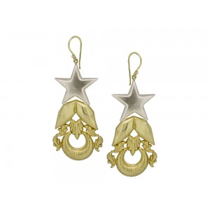 Silver Gold Plated Half Moon Star Floral Earring