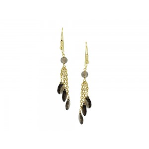 Silver Gold Plated Smoky Quartz Chain Earring