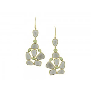 Silver Gold Plated Smoky Quartz & Peridot Earring