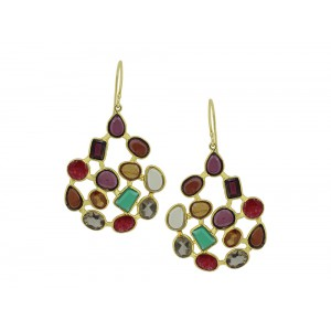 Silver Gold Plated Multi Gemstones Earring