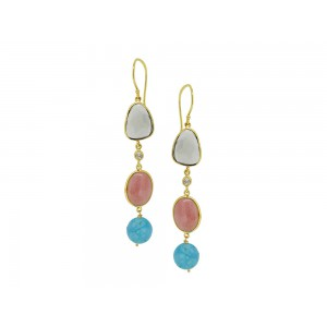 Silver Gold Plated Multi Color Gem Stones Earring