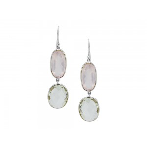 Silver Rose Quartz & Green Amethyst Earring