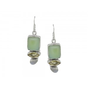 Silver Lemon Quartz, Moon Stone & Color Gemstone Earring