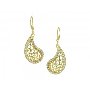 Silver Gold Plated Mango Zircon Earring