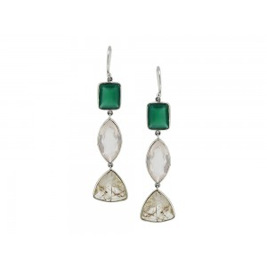 Silver Green Onyx, Wooden Rutile & Rose Quartz Earring