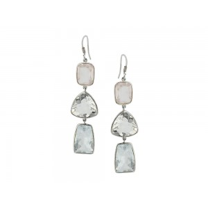 Silver Crystal, Blue Topz & Rose Quartz Earring