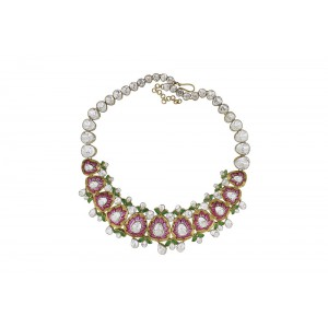 Silver Gold Plated Red & Green Meena Floral Crystal Polki Necklace Set