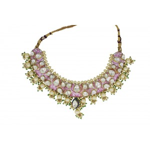 Silver Gold Plated Crystal Polki & Pearl Beads wtih Pink Meena Necklace Set
