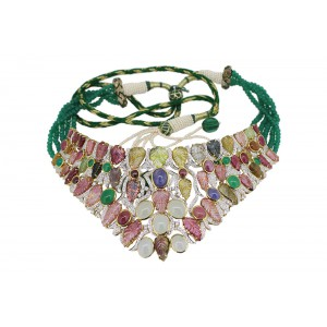 Silver Gold Plated Tourmaline, Tenzanite, Aquamarine, Green Onyx, Ruby, Gomadh & Zircon Designer Necklace Set