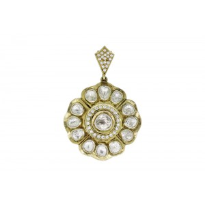 Silver Gold Plated Crystal Polki & Zircon Pendant