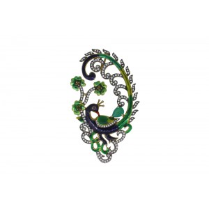Silver Gold Plated Ruby, Green Onyx, Garnet & Zircon Peacock Pendant