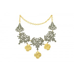 Silver Alloy Gold Plated with Black Rhodium Floral Necklace