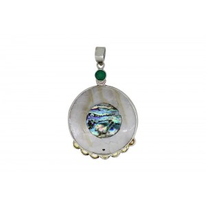 Silver Mother of Pearl & Green Onyx Pendant