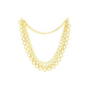 Silver Alloy Gold Plated Linked Necklace Set