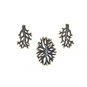 Silver Gold Plated with Black Rhodium Zircon Pendant Set