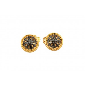 Silver Gold Plated With Black Rhodium Floral Cufflink