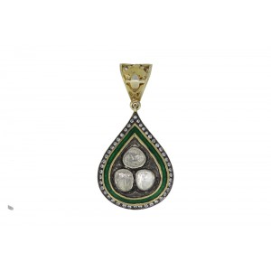 Silver Gold Plated with Black Rhodium Green Meena Crystal Polki & Zircon Pendant