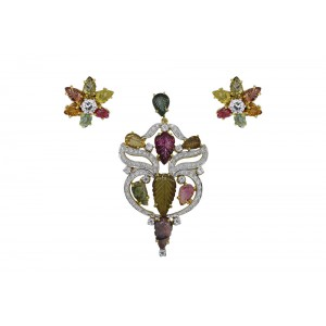 Silver Gold Plated Tourmaline & Zircon Floral Pendant Set