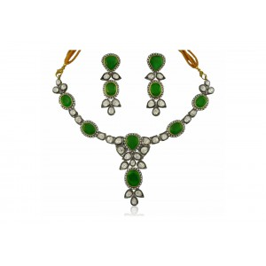Silver Gold Plated with Black Rhodium Green Onyx, Moissanite & Zircon Necklace Set