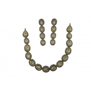 Silver Gold Plated with Black Rhodium Crystal Polki Necklace Set