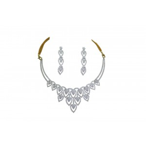 Silver Gold Plated Zircon Necklace Set