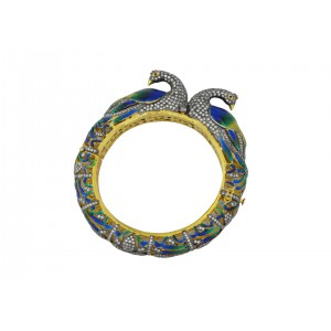 Silver Gold Plated Zircon Peacock Bangle
