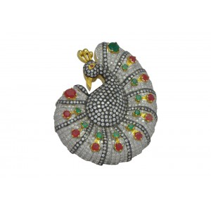 Silver Gold Plated with Black Rhodium Green Onyx, Ruby & Zircon Peacock Pendant