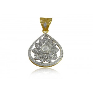 Silver Gold Plated Crystal Polki & Zircon Floral Pendant
