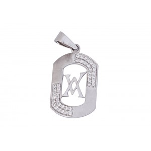 Silver White Gold Plated Zircon Pendant