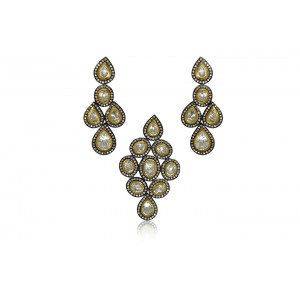 Silver Gold Plated with Black Rhodium Crystal Polki Pendant Set