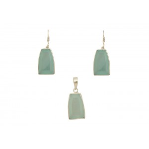 Silver Gold Plated Aqua Chalcedony Pendant Set
