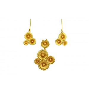 Silver Gold Plated Floral Pendant Set