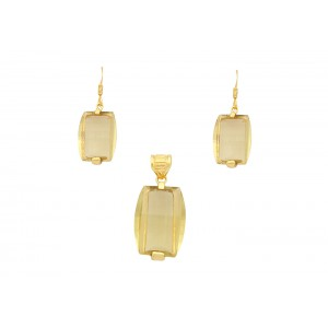 Silver Gold Plated Citrine Pendant Set
