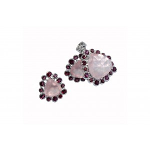 Silver Garnet & Rose Quartz Pendant Set