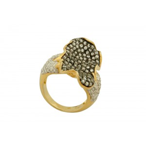 Silver Gold Plated with Black Rhodium Zircon Butterfly Ring