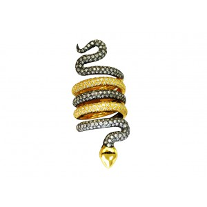 Silver Gold Plated Zircon Spiral Snake Ring